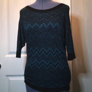 Chevron Sparkle Sweater, Black and Teal, Small